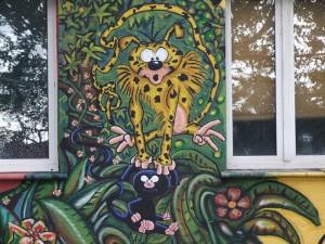 Peinture d'un fan du Marsupilami sur un mur de Düsseldorf. Wikipedia GNU